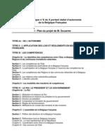 Table des matières projet Loi Org Ducarme[1]