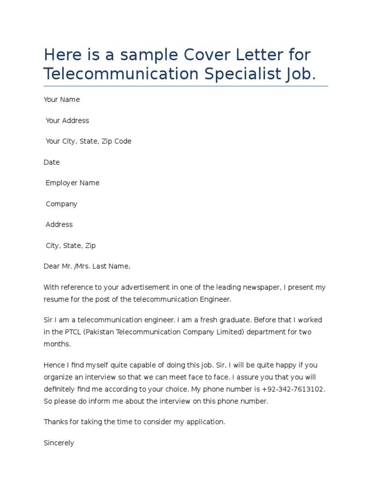 Cover Letter   Telecommunication   Technology