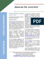 Bulletin du TSL - Avril 2013