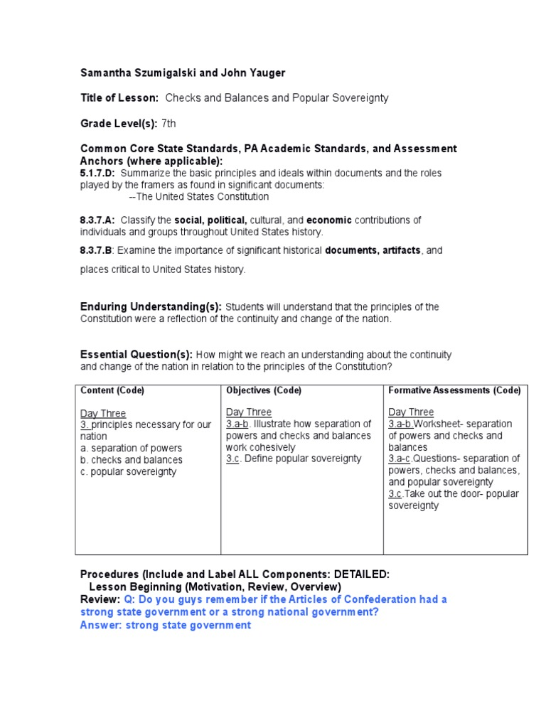 worksheet Checks And Balances Worksheet day 3 lesson plan united states government congress