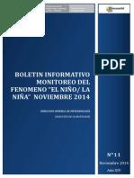 Boletin Informativo 004 Monitoreo Fen Noviembre 2014