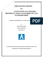 Consumer preference among Cloud HRMS vis-a-vis  On-premise HRMS