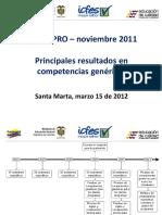Saber Pro Principales Resultados en Competencias Genericas 2011
