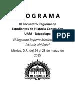 p r o g r a m a III Erehc s Uam i 2015