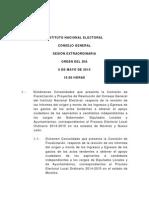 Orden del día de la Sesión Extraordinaria del INE 06-05-15