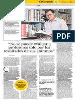 """""""No se puede evaluar a profesores solo por los resultados de sus alumnos"""" - Pedro Ravela - El Comercio - 06052015"""