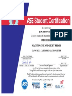 ase certificate - maintenance-light repair, j  sparks