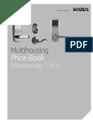 Kaba Multihousing Price Book- 2015 | Lock (Security Device