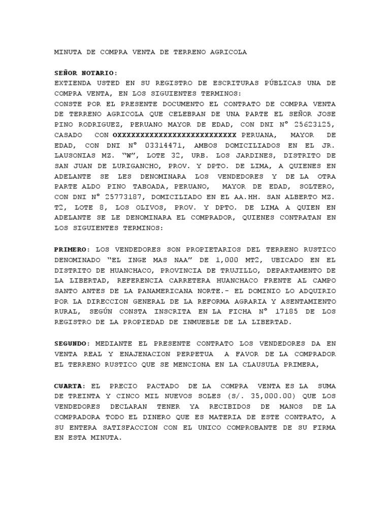 MINUTA DE COMPRA VENTA DE TERRENO AGRICOLA.doc