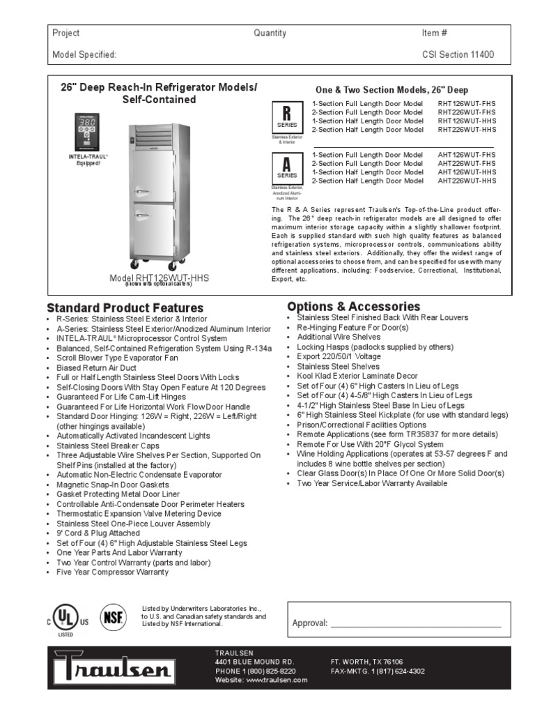 Traulsen G31010 Wiring Diagram Model Wire Data Schema Potential Relay Rht Aht 126 226 Door Refrigerator Rh Scribd Com Company Reach In Freezer