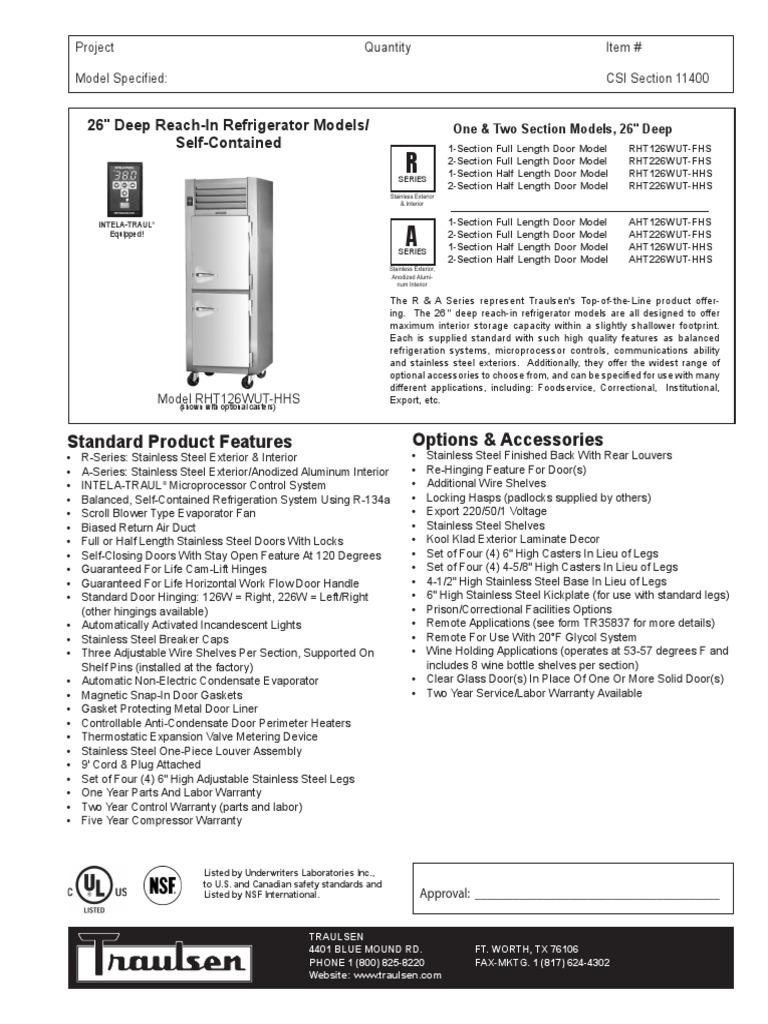 Traulsen G31010 Wiring Diagram Model Wire Data Schema Potential Relay Rht Aht 126 226 Door Refrigerator Rh Scribd Com Company Reach In Freezer