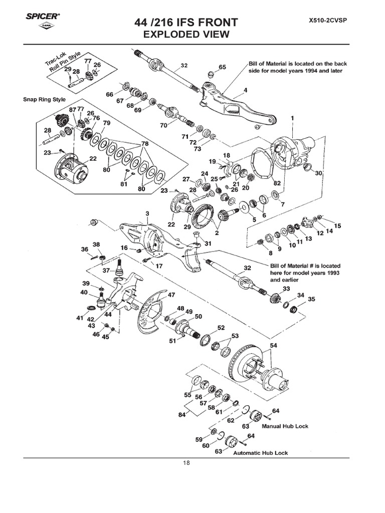 Dana-Spicer Ford Light Axle Applications Catalog Parts_D44