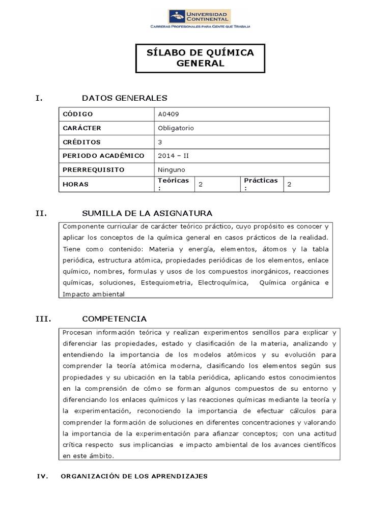Silabo quimica general urtaz Choice Image