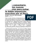 Breves Comentario Sobre Los Nuevos Convenios Para Evitar La Doble Imposición Suscritos Por El Perú