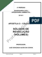 AP 3 - Cálculo 3 - Sólidos de Revolução Volumes