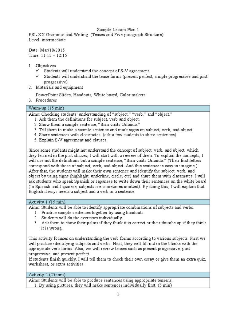 Sample lesson plan 1 verb sentence linguistics robcynllc Images