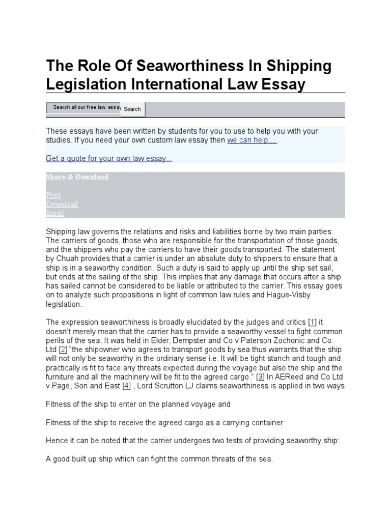 the role of seaworthiness in shipping legislation international the role of seaworthiness in shipping legislation international law essay government information industries
