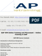 SAP WM (Warehouse Management) Online Training and Placement - Online Training in SAP