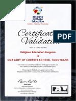 certificate of validation olol sunnybank