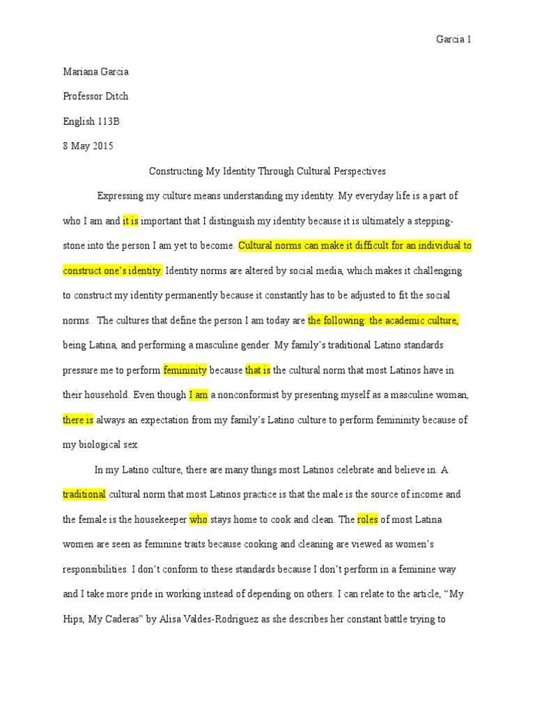cultural essay revised  femininity  gender