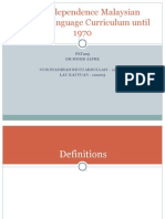Post-Independence Malaysian English Language Curriculum Until 1970