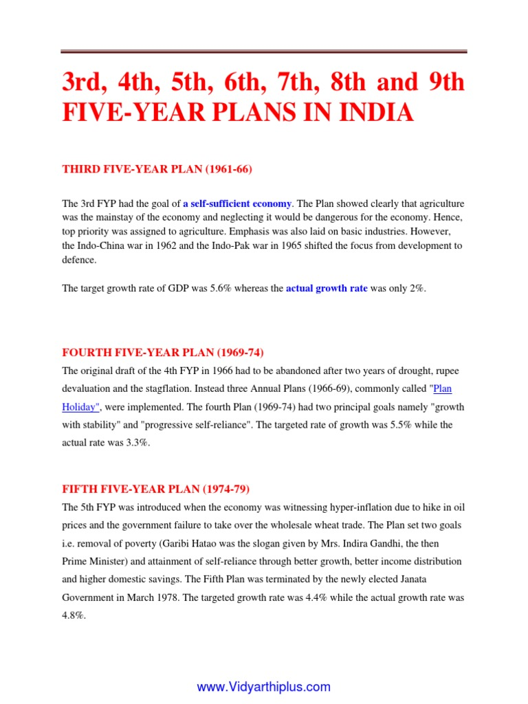 6th five year plan of india