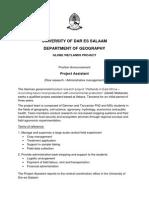 Ifakara Position Announcement