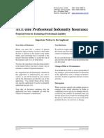 Ace Elite Pi Proposal Form for Technology Professional Liability Apr 2013