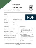 Year 12 Chemistry Exam - Sem 1 2009