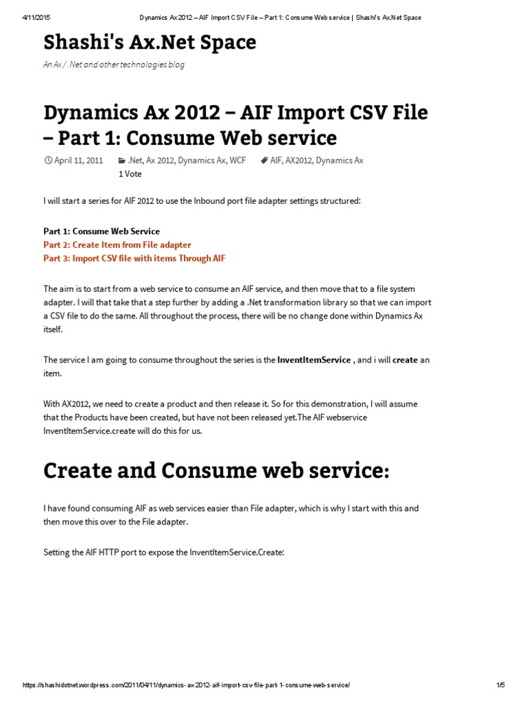 Dynamics Ax 2012 – AIF Import CSV File – Part 1_ Consume Web Service