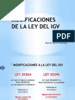Modificaciones a la ley del igv
