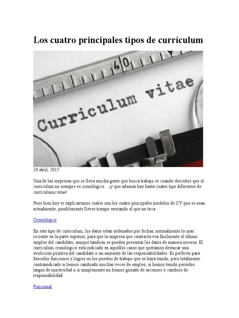 Los Cuatro Principales Tipos De Curriculum