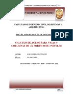 Cálculo de Acero Para Vigas y Columnas de Un Portico de 3 Niveles 1