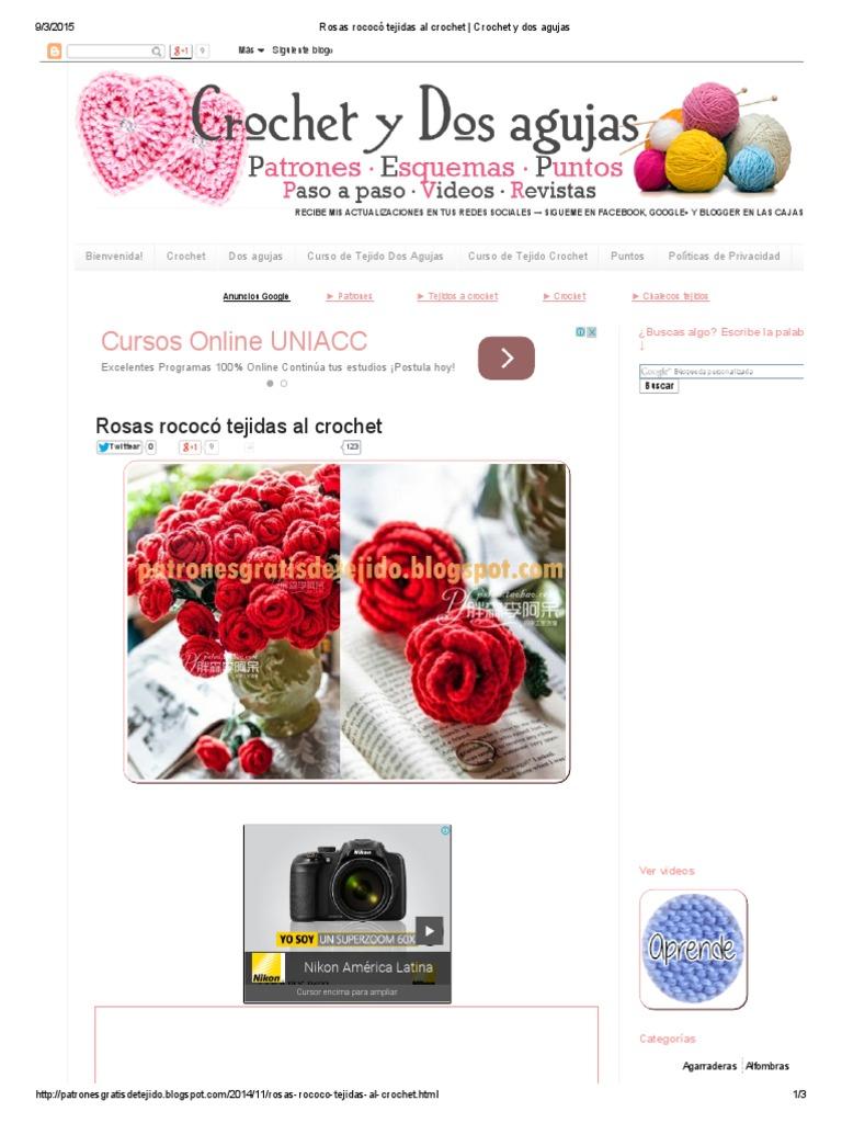 Rosas Rococó Tejidas Al Crochet _ Crochet y Dos Agujas