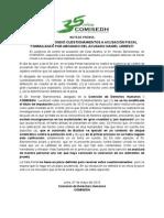 COMISEDH respondió cuestionamientos a denuncia fiscal formuladas por abogado de acusado Urresti