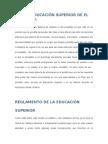 Ley de Educación Superior de El Salvador y Reglamento