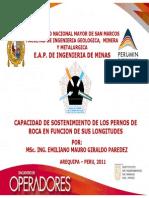 CAPACIDAD DE SOSTENIMIENTO DE LOS PERNOS DE ROCA EN FUNCION DE SUS LONGITUDES