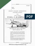 P-51H Pilots Flight Operating Instructions