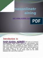 Sap Hana Admin Online Training