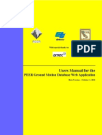 Peer Ground Motion Database Users Manual