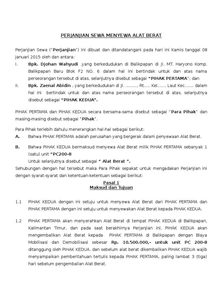 Draft Perjanjian Sewa Alat Berat 2 Kosong