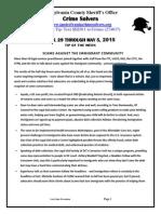 Spotsylvania Crime Solvers Report 4/29 - 5/5/2015