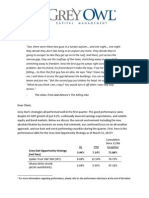 Grey Owl Capital Management - Q1 2015 Investor Letter