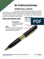 Manual Boligrafo Espia 1280x960 Negro y Dorado