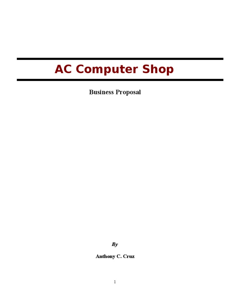 business plan sample for computer shop