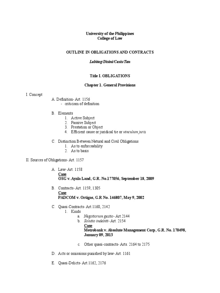 2014 2015 Obligations And Contracts Consolidated Syllabus