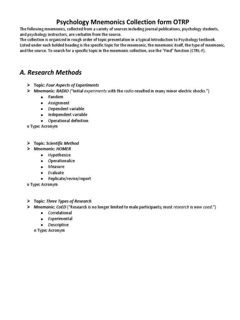 psychology mnemonics collection | Standard Deviation