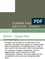 Summer Finance Institute - Ethics Presentation