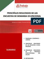 PRINCIPALES RESULTADOS DE LAS  ENCUESTAS DE DEMANDA OCUPACIONAL