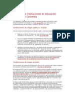 Creación de Instituciones de Educación Superior en Colombia